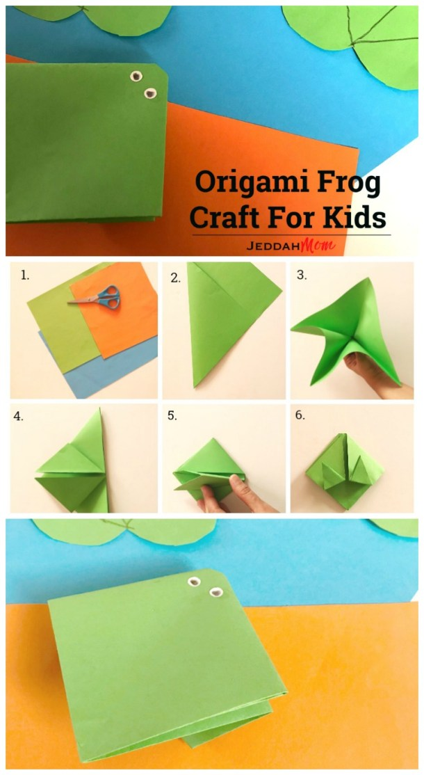 Help your child make this simple paper craft. Origami Frog Crafts for kids Jeddah Mom #kidscrafts #origami #preschoolcrafts