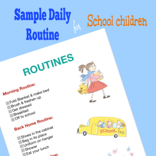 Sample Daily Routine for school going children JeddahMOm