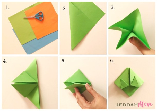 Step by step instructions origami frog craft JeddahMom 735x521
