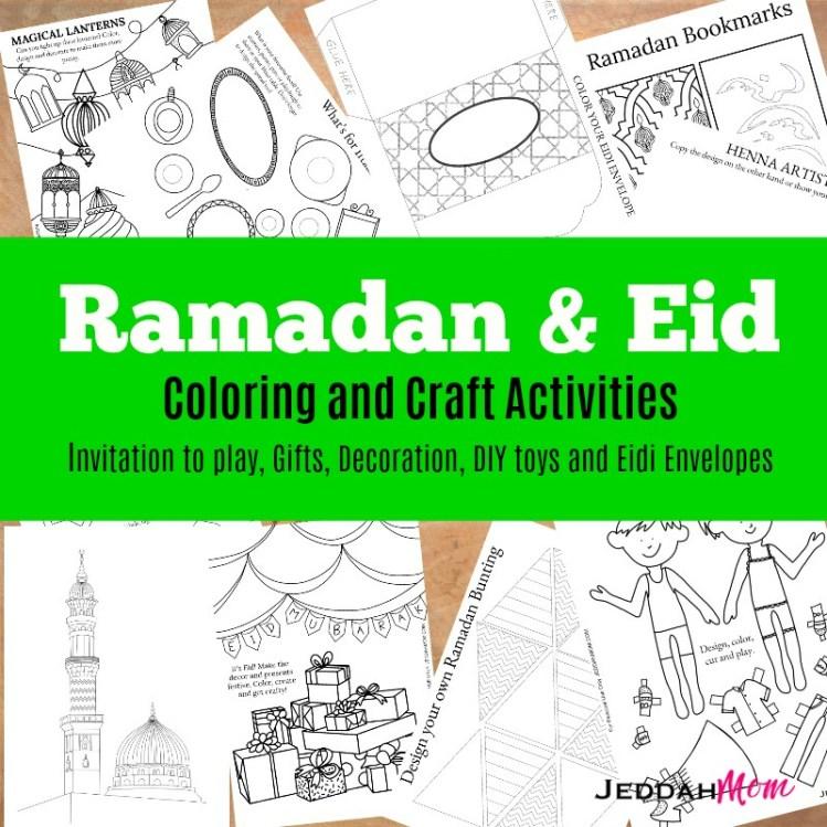 Ramadan Coloring Pages DIY toys eidi envelopes ebook jeddahMom