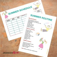 Sample Daily Summer Schedule for Kids