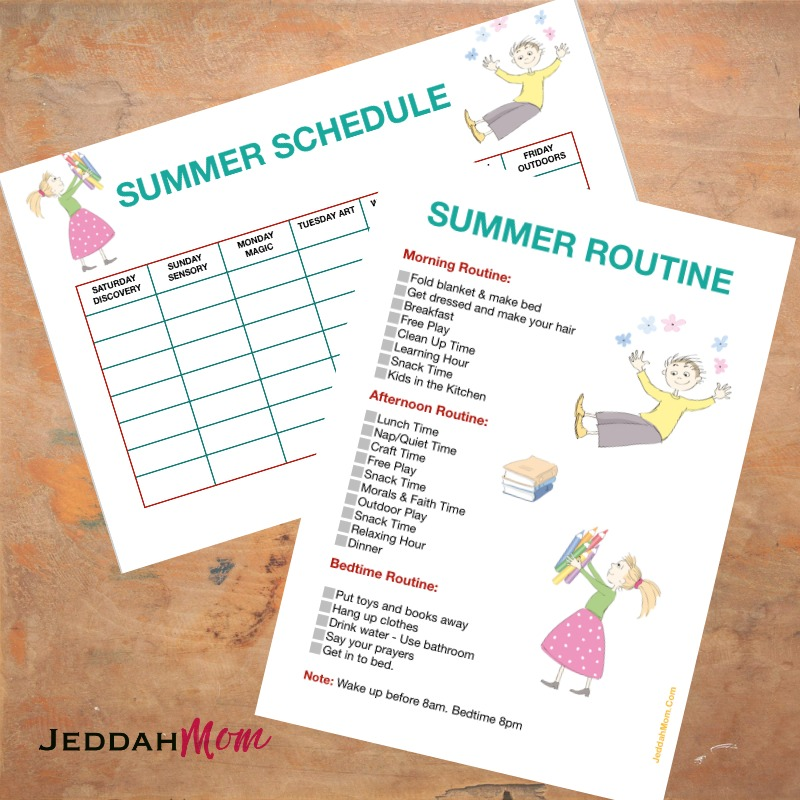 Daily Summer Schedule for Kids JeddahMom