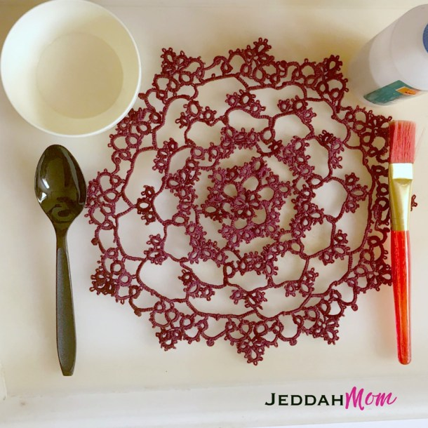 How to stiffen lace doily with starch