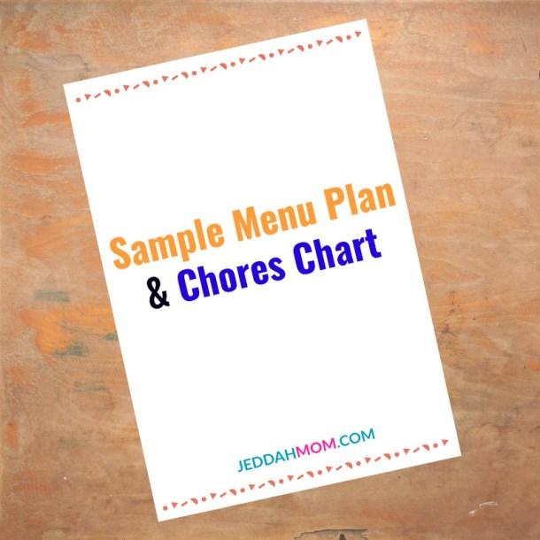 Sample Menu Plan and Chores Chart JeddahMom