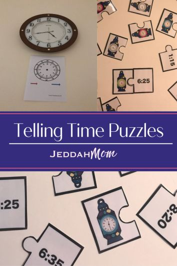 Preschool activity Telling Time puzzles that teach children to tell time kindergarten activity