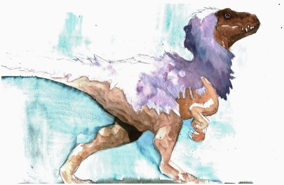 tyrannosaurus-albertosaurus-a-plumes-aquarelle-copie