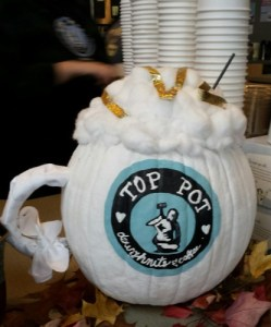Top Pot's staff painted/added to this pumpkin to make it a hot chocolate mug sculpture