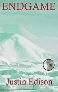 Endgame cover mockup of green-tinged ice landscape with sniper-scope on gray-skinned Mitasterite's eye