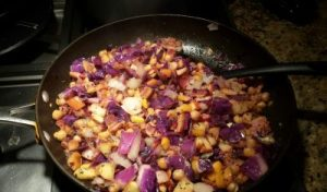 Edison's man hash, a skillet dish of bacon, onions, chickpeas, red cabbage, olive oil and spice
