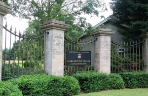 Harlaxton College main gate sign