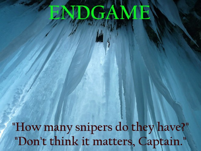 Justin Edison's Endgame teaser featuring a bluish ice cave with conflict dialogue in red.
