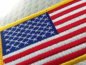 A badge of the American flag.