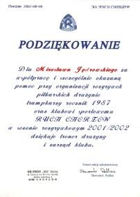 Podziękowanie Ruch Chorzów 2002