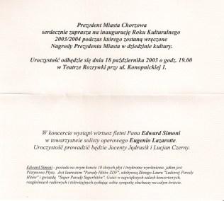 Zaproszenie Prezydenta Miasta Chorzów 2004