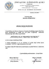 Podziękowanie Zarząd Górnoślaski Katowice 2008