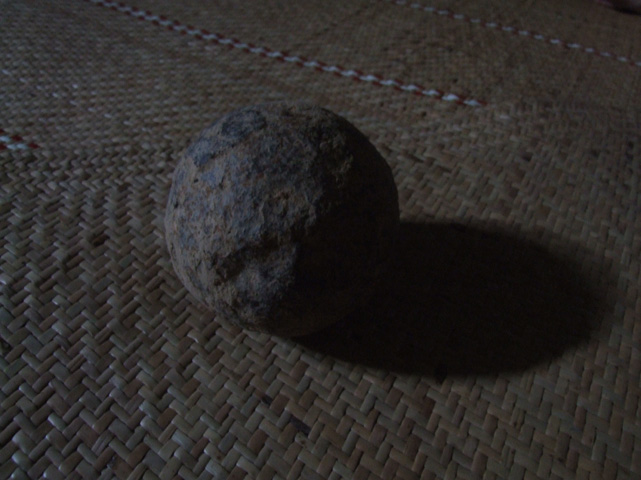 """This cannon ball was found recently when the longhouse was moved, it is to big to have come from the cannon used by Rentap, most likely it would have come from the """"Bujang Sadok"""" that is the 12 pound cannon brought to the mountain by the Brooke forces."""