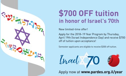 Pardes Institute of Jewish Studies offers scholarship