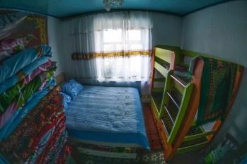 Sypialnia w typowym, kirgiskim domu