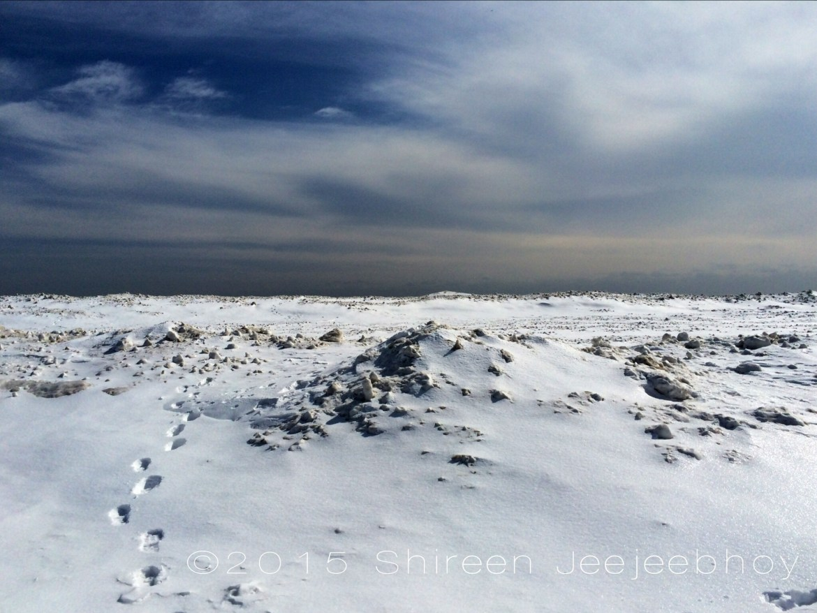 Footsteps on a snowy frozen wave