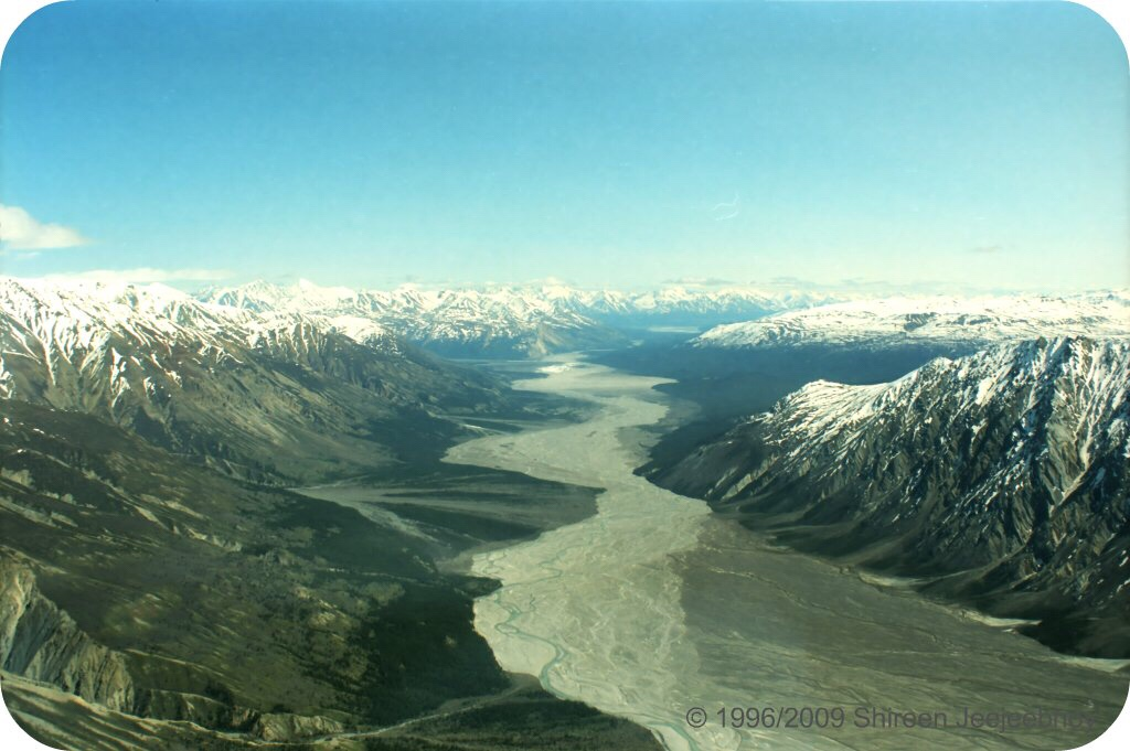 River in Kluane National Park between mountains