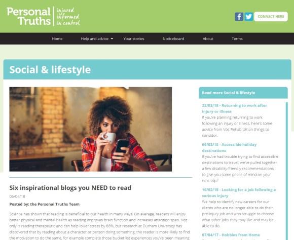 Personal Truths Six Inspirational Blogs Screen Capture