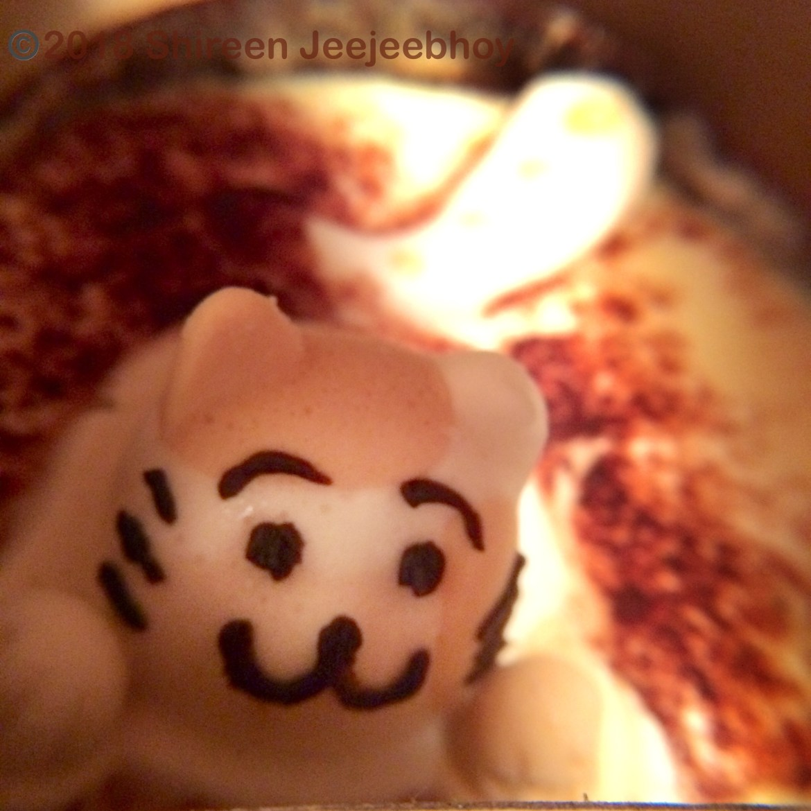 Marshmallow kitten in a white chocolate foam in a chocolate cup