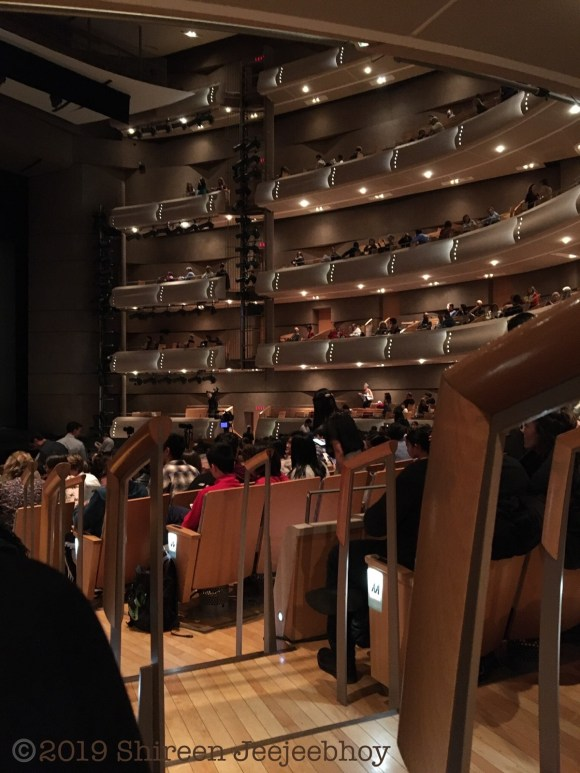 View of orchestra seating and all the rings including 5 at the top