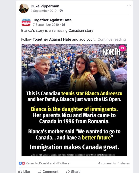 Bianca just won the US Open. Immigration makes Canada great.