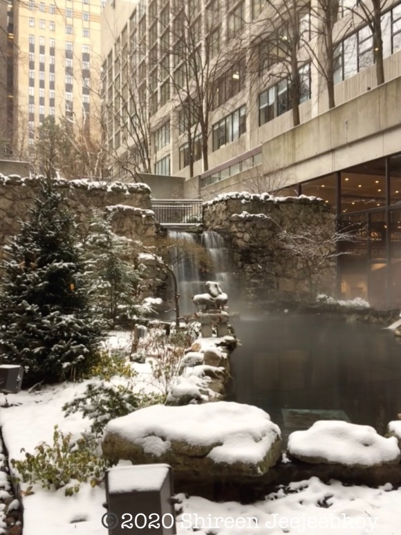 Waterfalls in a winter park inside Sheraton Centre hotel
