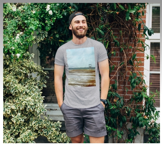 My photograph of the beach on a grey T-shirt worn by a bearded man, created for my ShopHERE