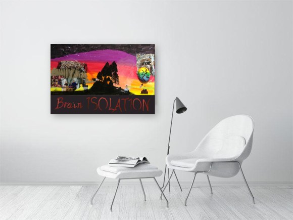 Brain isolation print on wall with chairs in front, product image for website