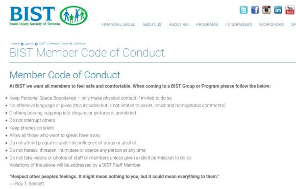 Screenshot of BIST Code of Conduct for all members