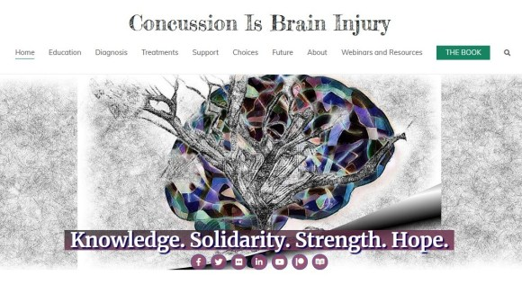 Screenshot of brain injury website concussionisbraininjury.com showing the home page with just its header showing