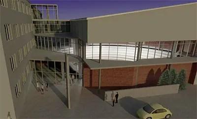 So könnte die Halle (rechts) neben dem Hauptgebäude einmal aussehen.Grafik: Architekt Jan Bodenstein