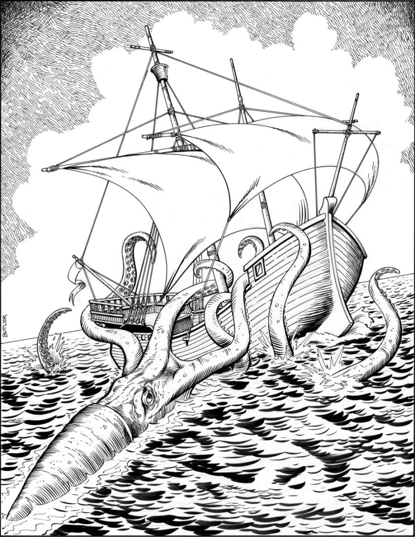 giant squid attack game module interior brush and ink 87