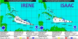 one year later Issac is taking a similar path to Irene  who caused so much trouble in 2011