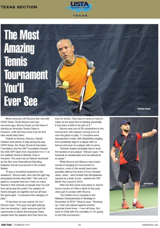 Featured in Inside Tennis Magazine