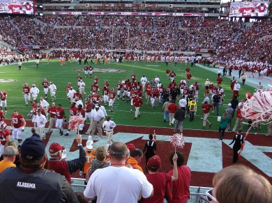 The Crimson Tide heading to the lockers at halftime.