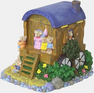 An image of toy mice in a caravan