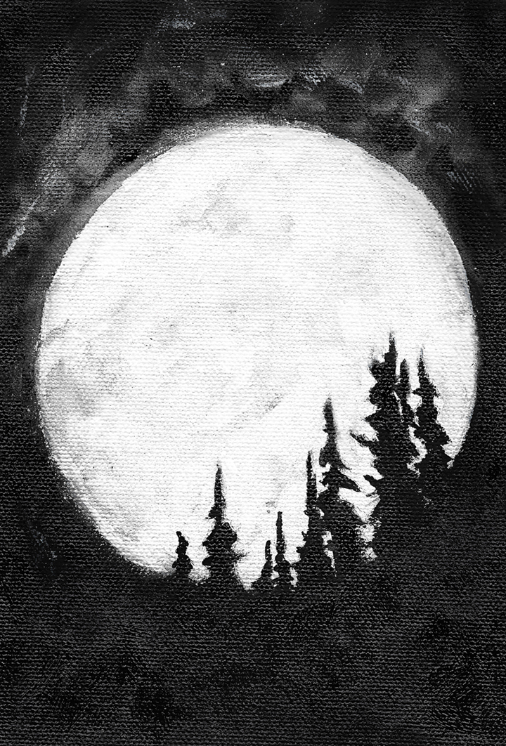 jeffcoat art, art, painting, gouache, black and white, canvas, full moon, trees, night, dark, silhouette, clouds, nature, outdoors, country