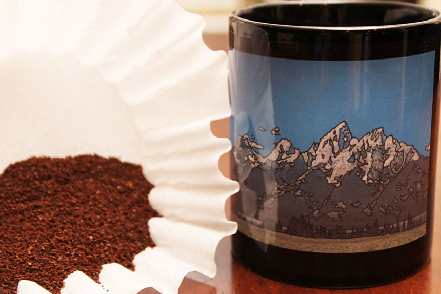 Buy on Etsy at Jeffcoat Art. Artistic coffee mug of Grand Teton mountain range inked in by Jeffcoat Art