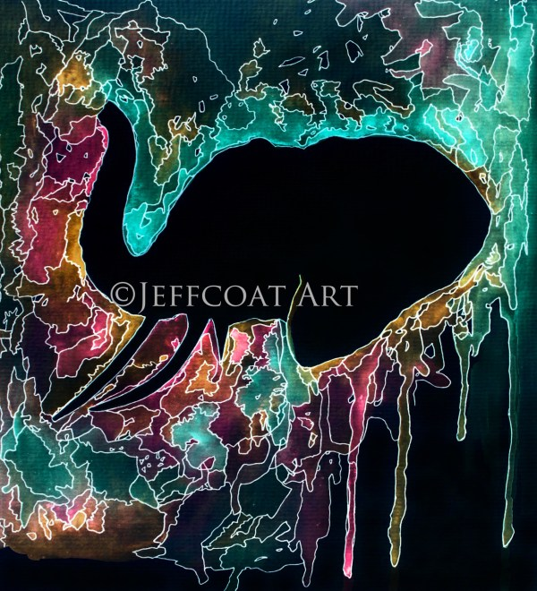 Elephant Psychedelic painting by Jeffcoat Art