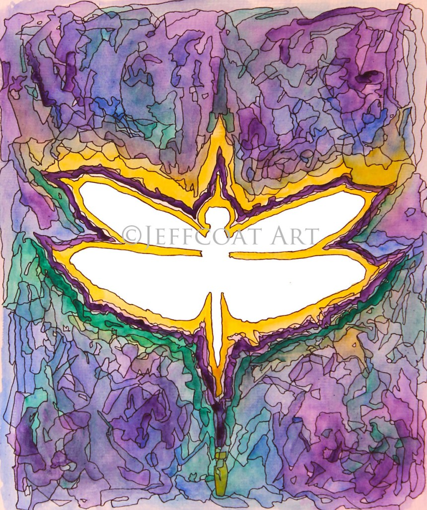 White silhouette of a dragonfly outlined in bright yellow and dark purple. The background is a blending of purple, blue, green, and yellow with details inked in pen to create a stained-glass look. Purchase $30 prints here by Jeffcoat Art.