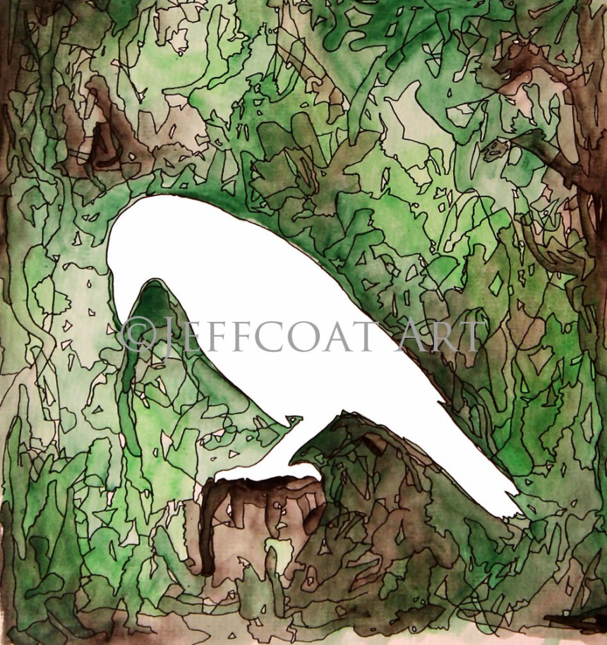 white silhouette of raven with green and brown watercolor background. Details are inked in with pen giving it a stained-glass look. Prints available at www.jeffcoatart.com. Or $30 Paypal purchase to jeffcoat4747@yahoo.com