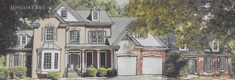 photograph of beautiful home for sale, inked in by Jeffcoat Art. Commission an inking of your home today for $50.