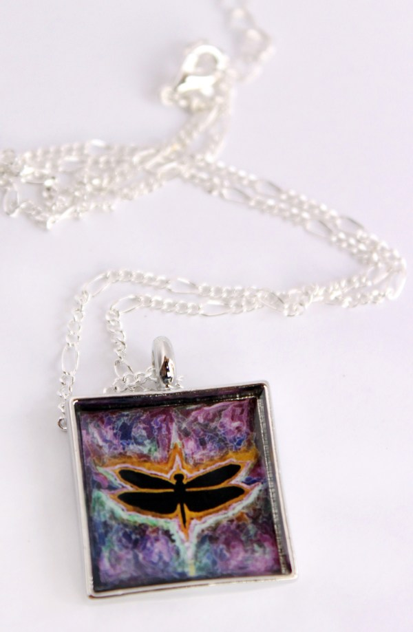 Dragonfly Psychedelic necklace by Jeffcoat Art