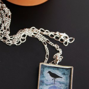 Sand Piper Blue art necklace
