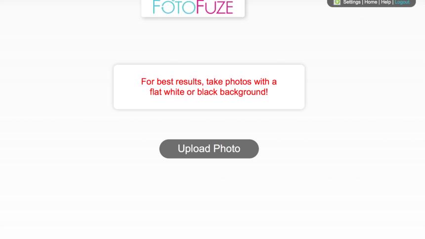 screen capture of FotoFuze process of uploading a photo