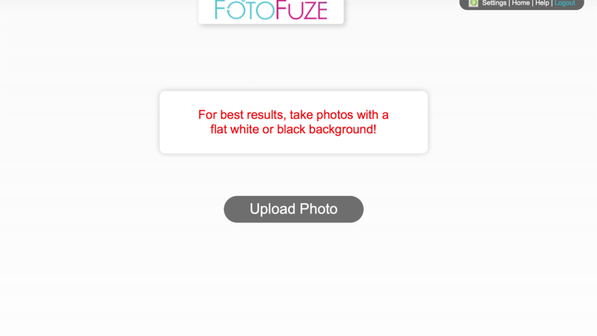 screen capture of FotoFuze process of uploading a photo
