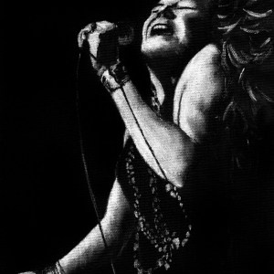 Janis Joplin Wall Art black and white art by Jeffcoat Art